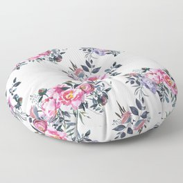 Sophisticated Pink and Gray Floral bouquets on White  Floor Pillow