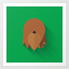 Chewbacca 2015 Flat Design Episode VII Art Print