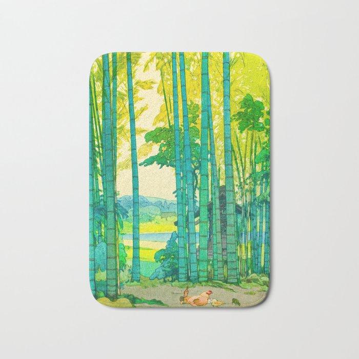 Yoshida Hiroshi Bamboo Grove Vintage Japanese Woodblock Print Bright Green Bamboo Landscape Forest Bath Mat