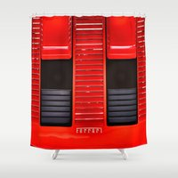 ferrari Shower Curtains featuring Ferrari hood by LeicaCologne Germany