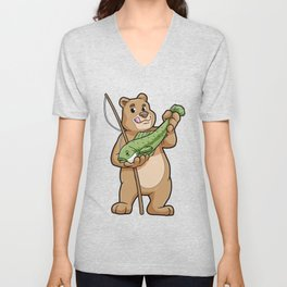Bear at Fishing with Fishing rod and Fish Unisex V-Neck