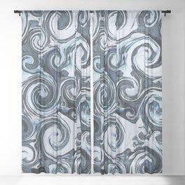 Blue Swirls Sheer Curtain