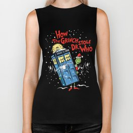 How The Grinch Stole Dr Who (on Dark) Biker Tank