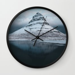 Iceland Mountain Reflection - Landscape Photography Wall Clock