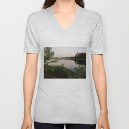 Pennamaquan River at Sunset Unisex V-Neck