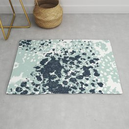 Izzie - abstract painting navy mint white trendy color palette summer bright decor Rug