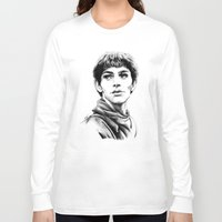 merlin Long Sleeve T-shirts featuring Merlin by Anna Tromop Illustration