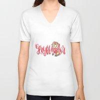 gryffindor V-neck T-shirts featuring Gryffindor The Brave by AliceInWonderbookland