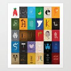 Meagan's Movie Alphabet Set One Art Print