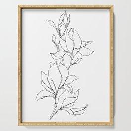 Botanical illustration line drawing - Magnolia Serving Tray