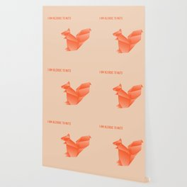 Allergic to Nuts - Origami Orange Squirrel Wallpaper