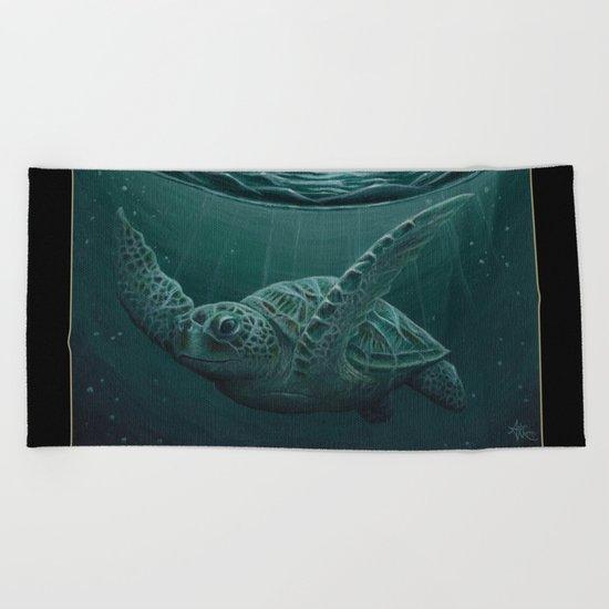 """Eclipse"" - Green Sea Turtle, Acrylic Beach Towel"