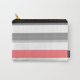 Watercolor striped pattern in black and grey , white and pink colors . Carry-All Pouch