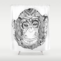 monkey Shower Curtains featuring Monkey by Cherry Virginia