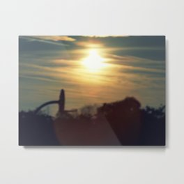 sun sets over a school yard Metal Print