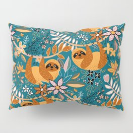 Happy Boho Sloth Floral Pillow Sham