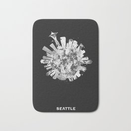 Seattle, Washington Black and White Skyround / Skyline Watercolor Painting (Inverted Version) Bath Mat