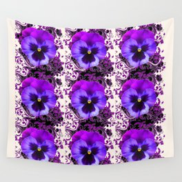 GARDEN ROWS OF PURPLE PANSY FLOWERS PATTERNS Wall Tapestry