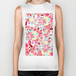 Girly coral pink hand drawn flowers Biker Tank