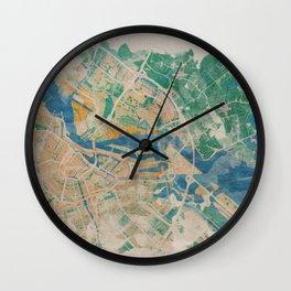 Amsterdam, the watercolor beauty Wall Clock