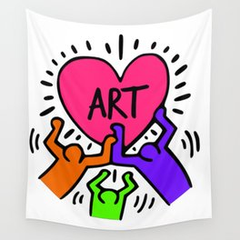 "Keith Haring inspired ""I Love Art"" Secondary Colors edition Wall Tapestry"