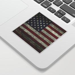 American Flag, Old Glory in dark worn grunge Sticker