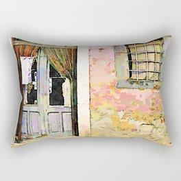 Vulture: door and window on pink wall Rectangular Pillow