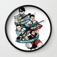 vampire weekend Wall Clocks featuring Vampire Weekend by Knifeson