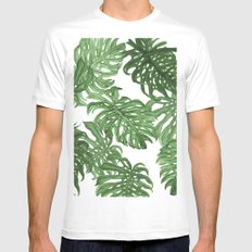 Monstera Deliciosa MEDIUM White Mens Fitted Tee