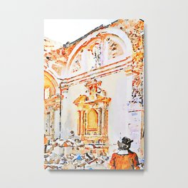 L'Aquila: firefighter in the earthquake church Metal Print