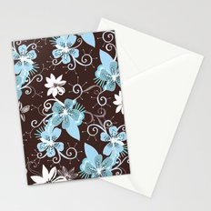 Summer blossom, brown and blue pattern Stationery Cards
