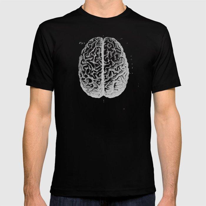 Row o' Brains - Engraving - Vintage - Old Black, White & Brown T-shirt