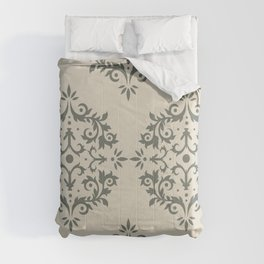Moody Green Buff Tan Damask Scroll Pattern 2021 Color of the Year Contemplative Bleached Pebble Comforters