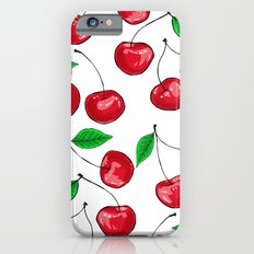 Seamless pattern design with fresh red cherries iPhone 6s Slim Case