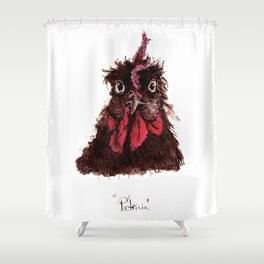 """Ink study of hen: """"Patricia"""" Shower Curtain"""