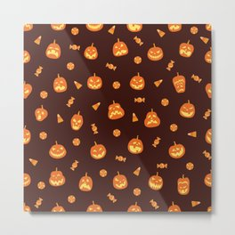 Orange pumpkin scary faces and candy halloween hand drawn illustration pattern on dark background Metal Print