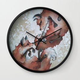 Foxes, snow day Wall Clock