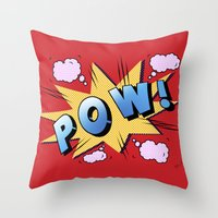 superheroes Throw Pillows featuring superheroes by mark ashkenazi