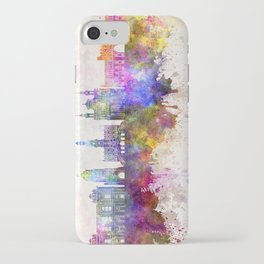 Lublin skyline in watercolor background iPhone Case