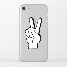 Peace Sign yellow Clear iPhone Case