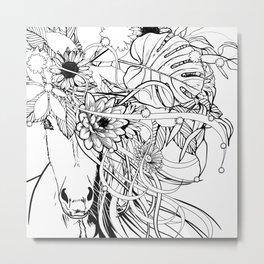 Horsie with Flowers in Her Hair Metal Print