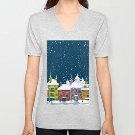 Winter town Unisex V-Neck