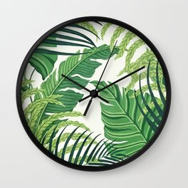 Green tropical leaves II Wall Clock