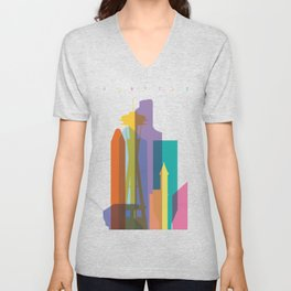 Shapes of Seattle accurate to scale Unisex V-Neck
