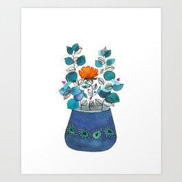Watercolor plant & ink line art 3 Art Print