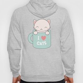 Kawaii Cute I Love Cats Hoody