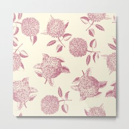 Big lush hydrangea flowers on off-white background seamless pattern. Pale pink. Atemporal, classic. Metal Print