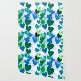 Fab Green & Blue Grungy Hearts Design Wallpaper