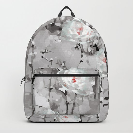 White Snow Flowers Backpack