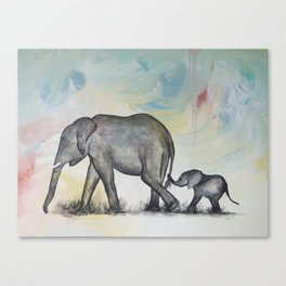 Love over Time Elephants Canvas Print